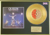 "QUEEN -7""  24 Carat Gold Disc + cover - ANOTHER ONE BITES THE DUST"